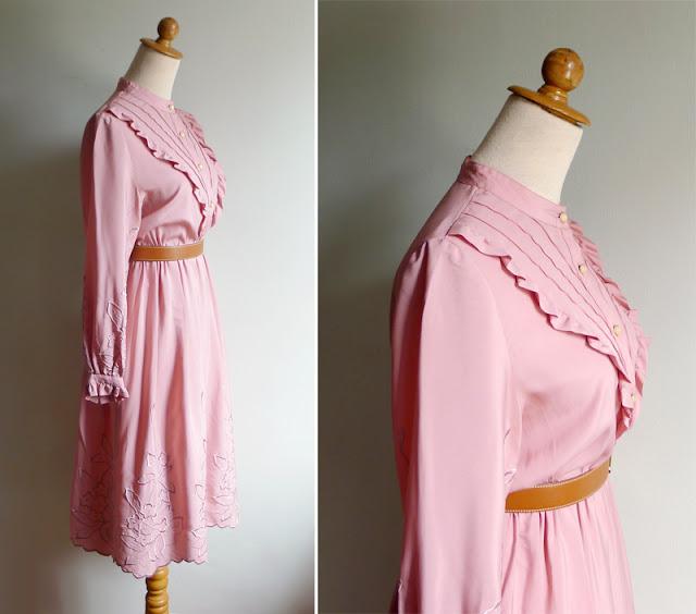 vintage 70's pink ruffle dress