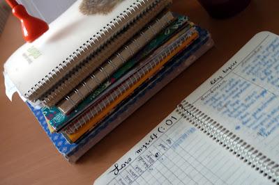 нивият тефтер, до купчината стари, вече с модерното име :) - bullet journal