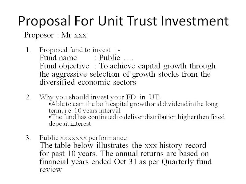 One Vision : Sample Of Lump Sum Investment Proposal