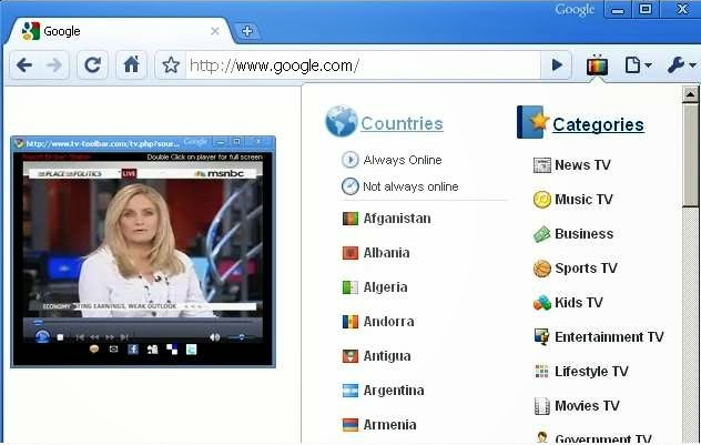 Application to see all the world channels on Google Chrome