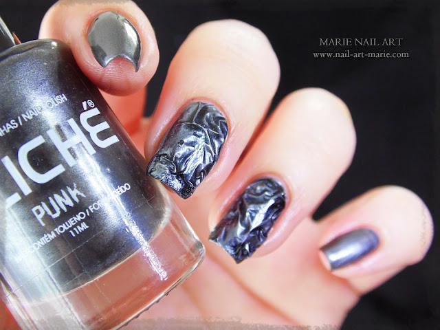Nail Art effet métal froissé 3D2