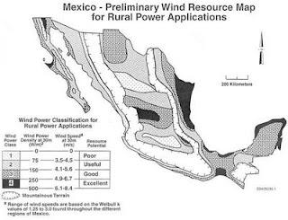mapa de vientos en mexico