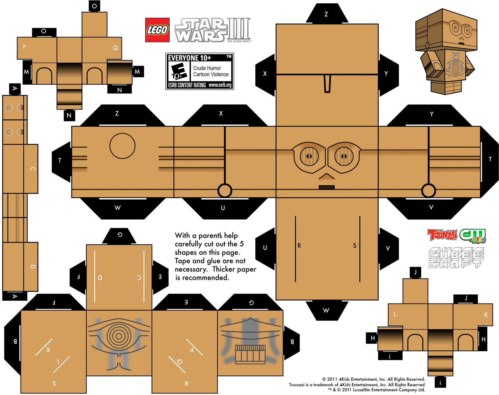 papercraft c3po guerra de las galaxias. Black Bedroom Furniture Sets. Home Design Ideas