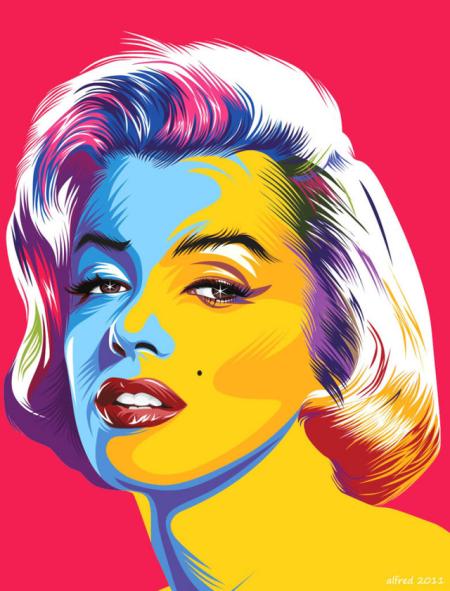 Marilyn Monroe Vector Pop Art Cerita Dibalik Pembuatan, vector mm, lihat, rasakan, gambar, icon pop art