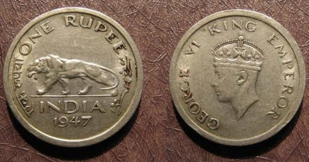 Coins Of Classic India 1 Rupees 1947 George Vi King Emperor
