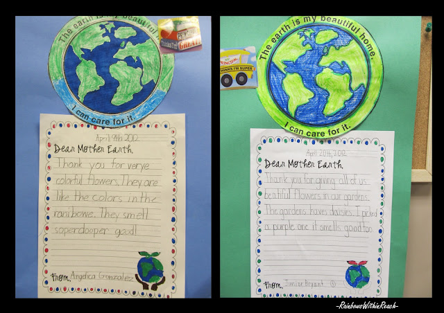 photo of: Earth Day writing project, Earth Day in elementary school, Earth Day bulletin board