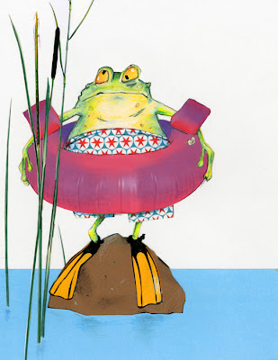 illustration of a frog that goes swimming in a lake by robert wagt