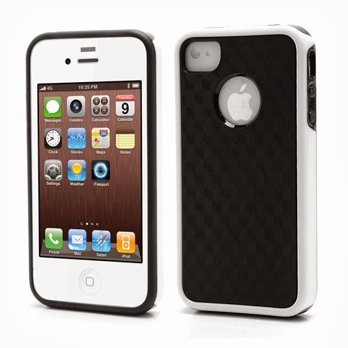 Cool 3D Cube Texture TPU Case for iPhone 4 4S - White
