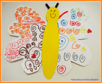 photo of: Fine Motor Butterfly filled with Curlie Cues of Magic Marker Design