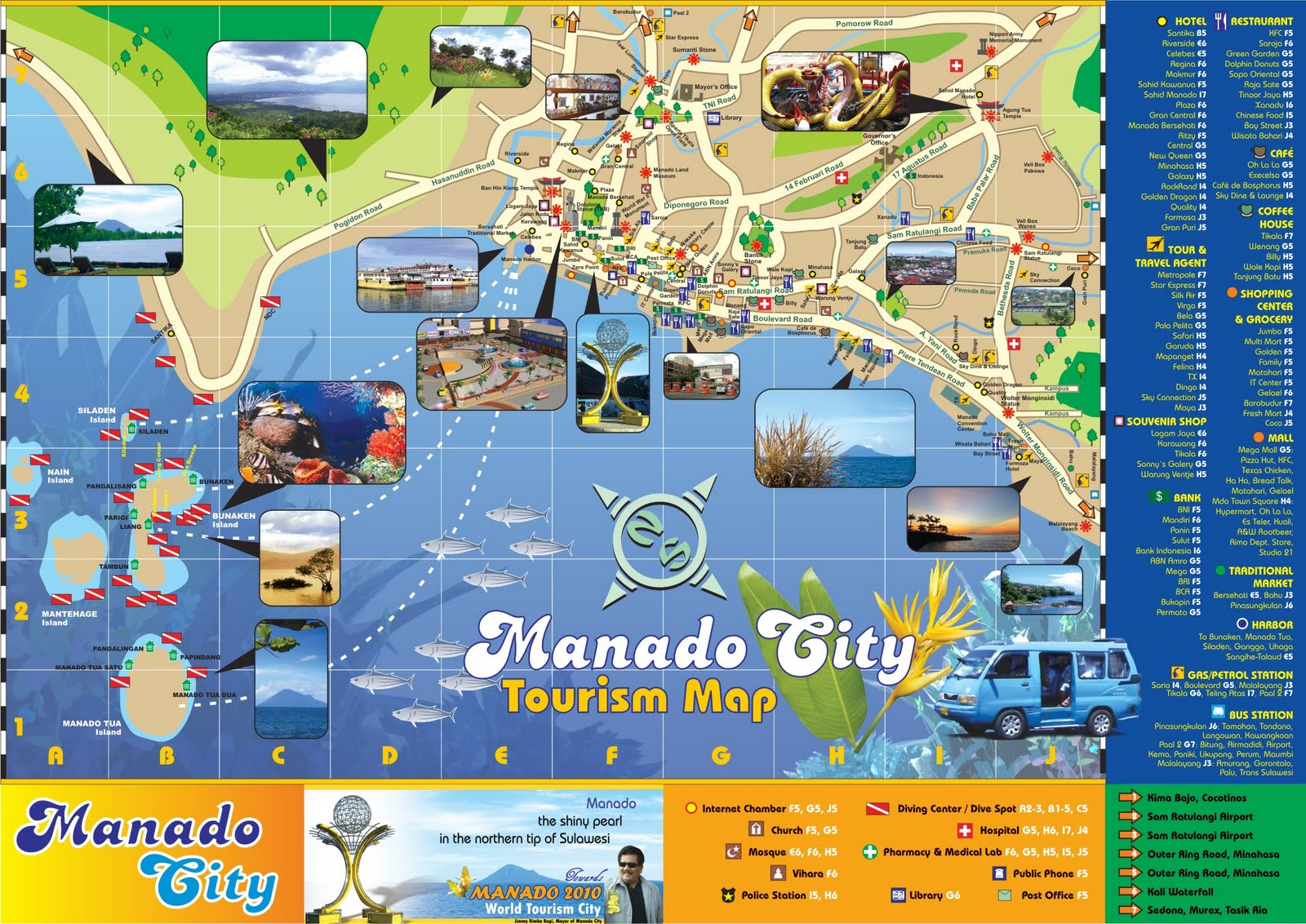 Manado Indonesia  city photo : Manado Indonesia: Manado City Tour Map