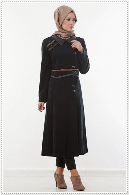 Hijab United Deri Detaylı Uzun Kaban Modelleri