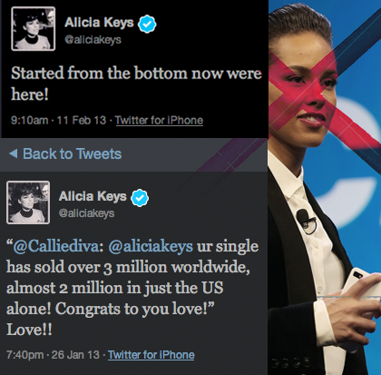 Alicia Keys in the sponsored, Blackberry Conference with an iPhone