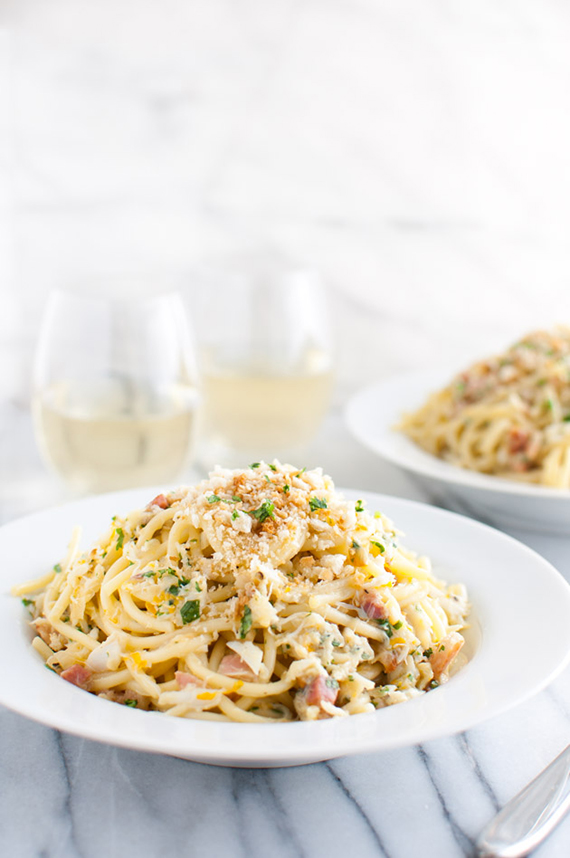 Spaghetti Carbonara with Crab and Meyer Lemon recipe by Taming Of The Spoon