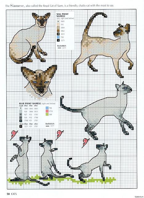 Схема вышивки кошки крестиком 44