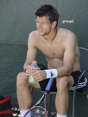 Jurgen Melzer Shirtless at Sony Ericsson Open 2011