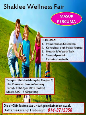 Shaklee sunway; Shaklee wellness fair; check kesihatan percuma; lucky draw