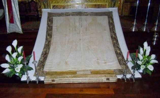 """Copia de la """"Sábana Santa"""" que se custodia en Laguna de Cameros"""