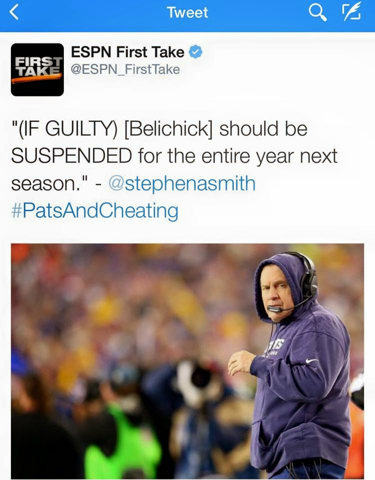 (If guilty) belichick. Should be SUSPENDED for the entire year next season