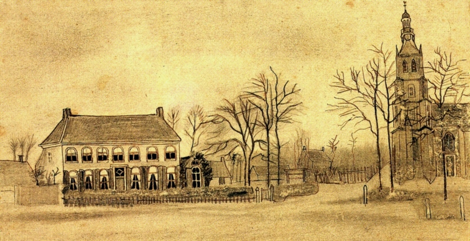 art artists vincent van gogh drawings part 1 1876 vicarage and church at etten pencil on paper