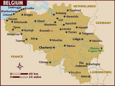 Bélgica Mapa de la Región