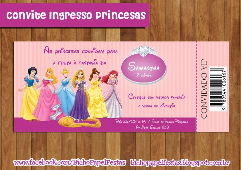 Arte Convite Ingresso VIP Princesas