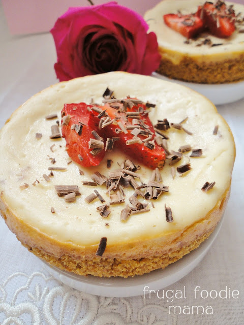 Lighter Strawberry Cheesecakes for Two | Frugal Foodie Mama