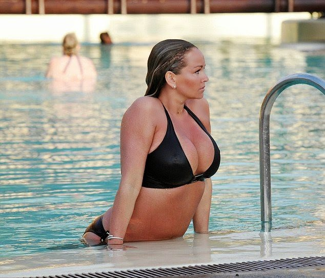 Jennifer Ellison relaxes in a Black Bikini while vacation in Tenerife