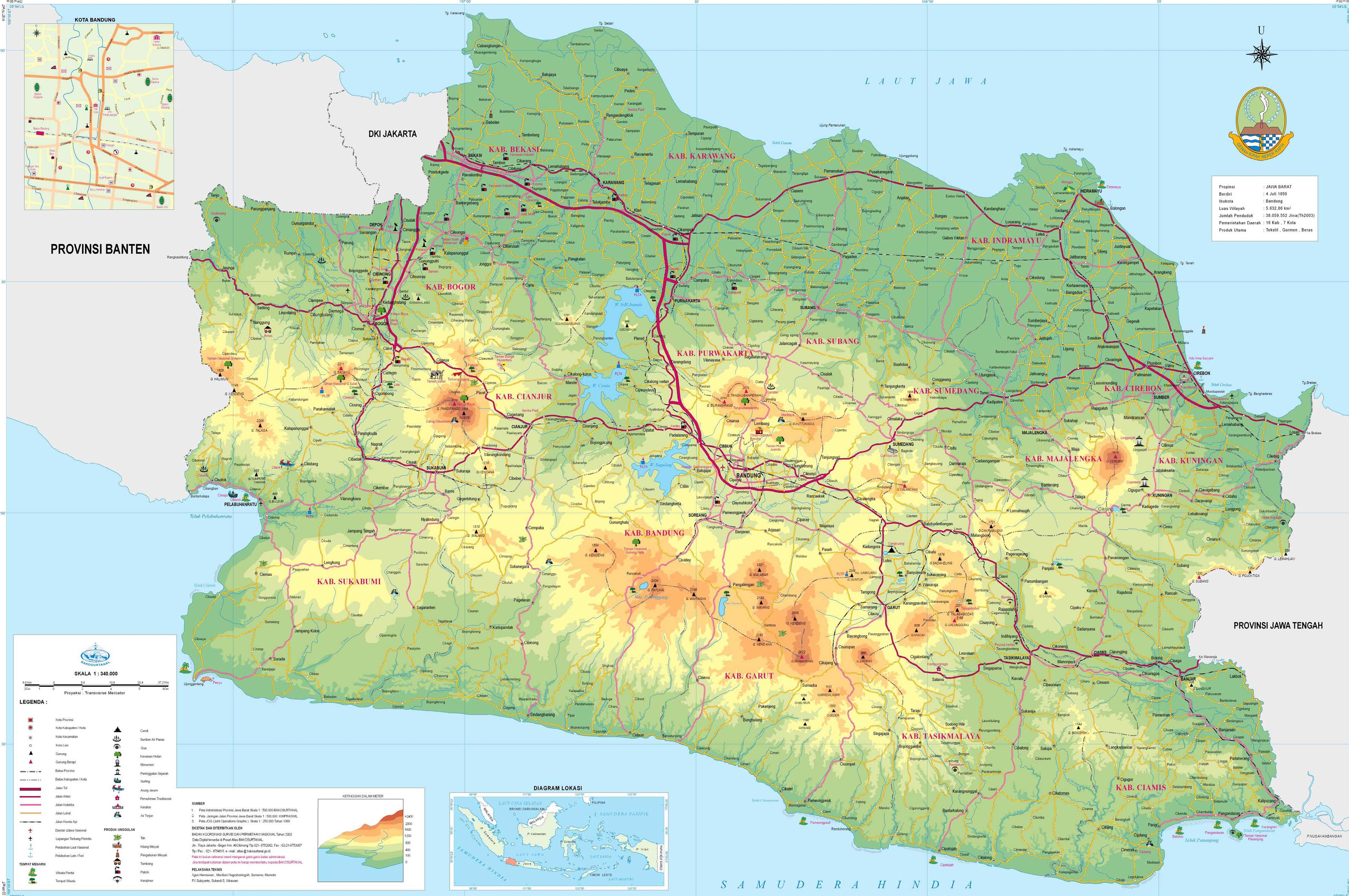 peta kota peta provinsi jawa barat