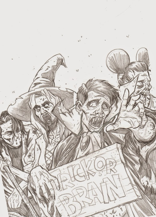 zombie sketch ink black and white halloween cover pencils