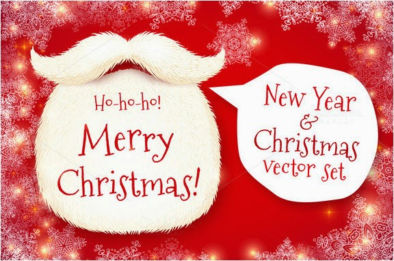 Santa's beard vector Christmas set
