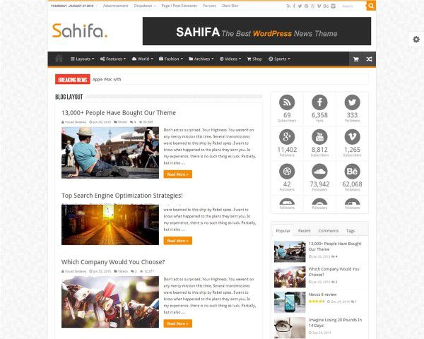 Sahifa theme for professional blogs