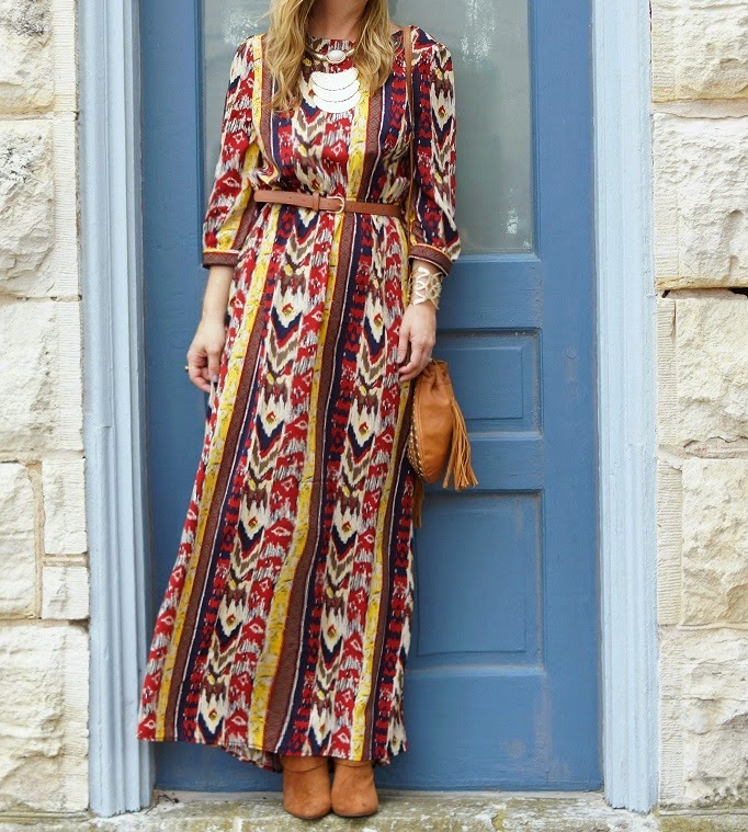 Tribal print maxi dress for a boho style idea