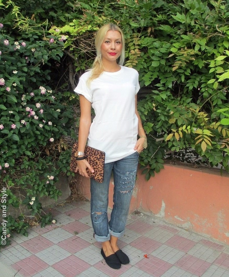 WhiteTee, RippedBoyfriendJeans, LeopardClutch, SlipOns - Lilli Candy and Style Fashion Blog