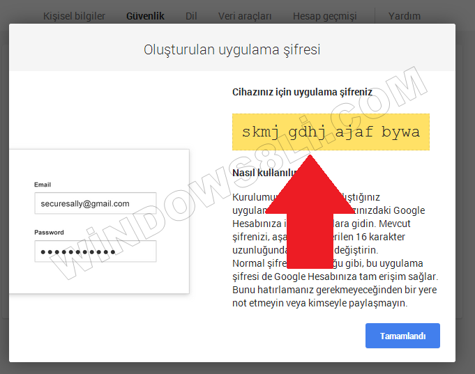 Android Google Şifre