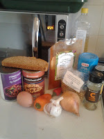 picture showing ingredients required for making spicey bean burgers