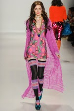 purple, floral, mini dress, knee hi, striped socks, new york fashion week,