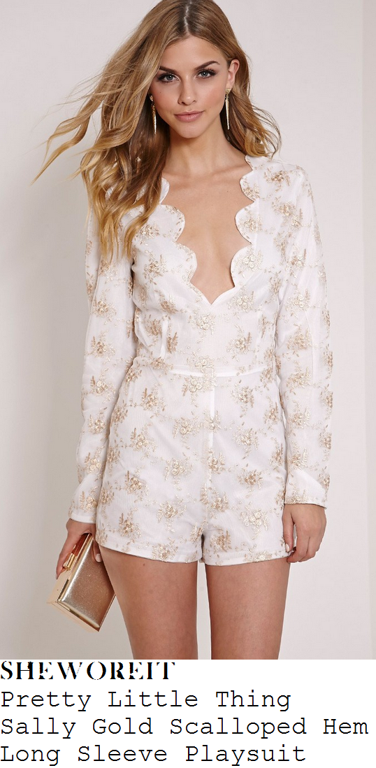 lydia-bright-white-gold-floral-embroidered-long-sleeve-scallop-plunge-front-playsuit