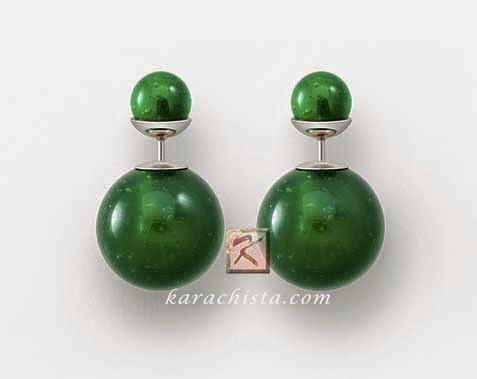 Mise en Dior Tribal earrings - jade green