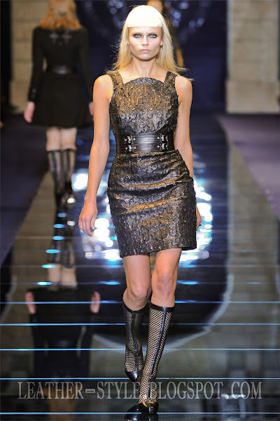 leather dress, boots, top model, Natasha Poly, leather style, Versace, fashion brand, collection