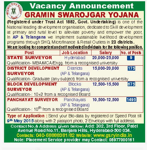 Gramin Swa Rojgar Yojana Vacancy List 2015, GSRY Recruitment 2015
