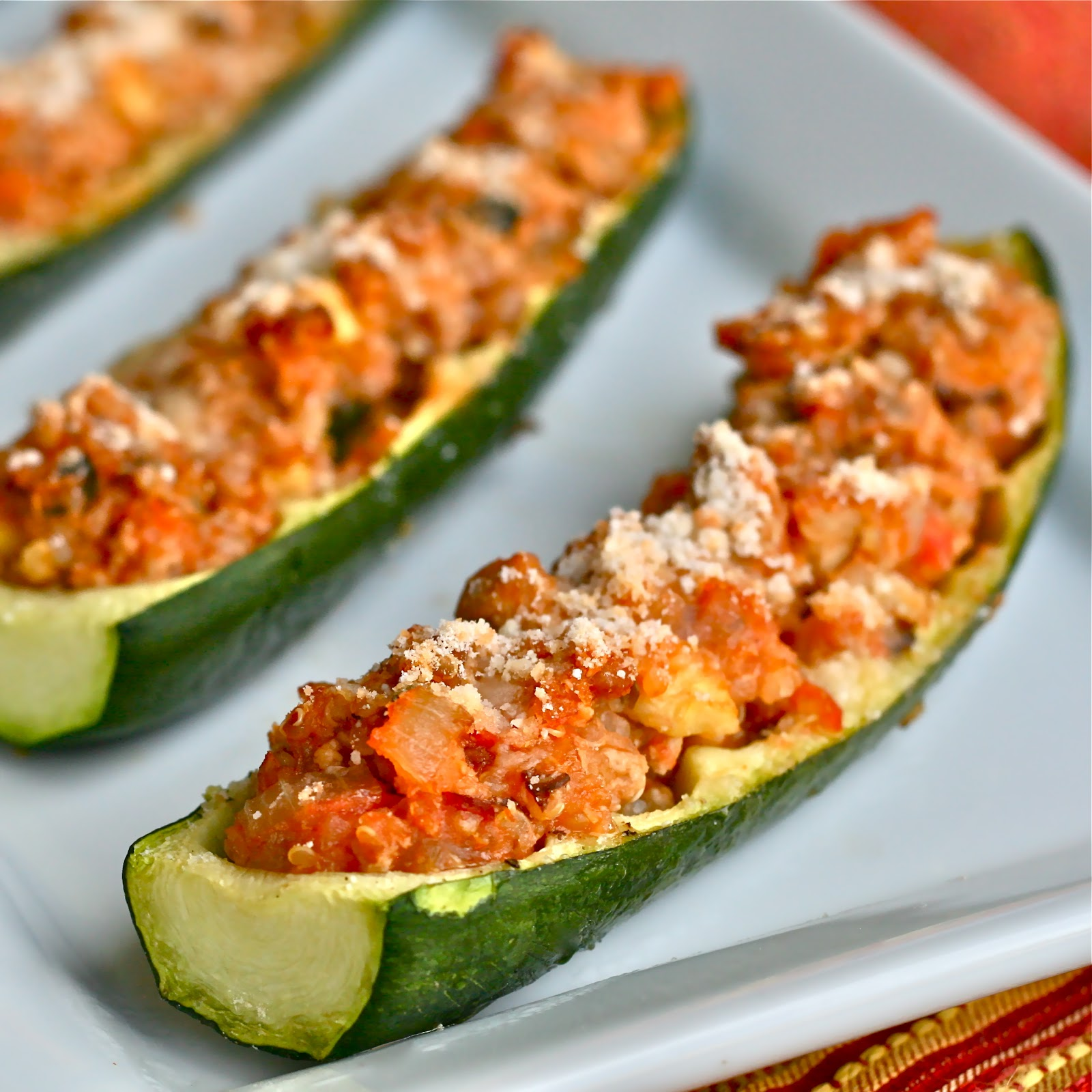 Q Is For Quinoa Ground Turkey Zucchini Boats
