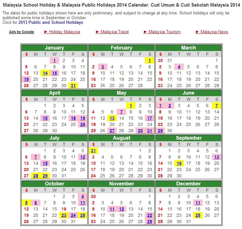 Kalender Cuti Sekolah 2014
