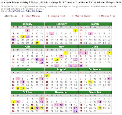 Kalendar Tarikh Cuti Umum Dan Cuti Sekolah 2014 Di Malaysia.