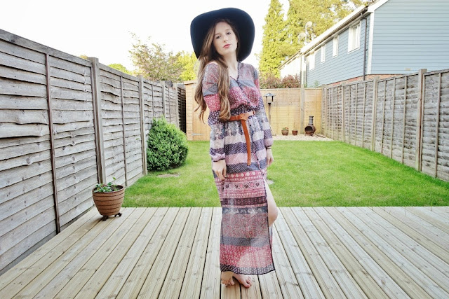 bohemian dress with side split