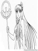 Mewarnai Gambar Saori Sang Dewi Athena