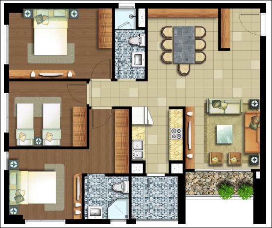 Sơ đồ căn hộ Lexington 3 phòng ngủ