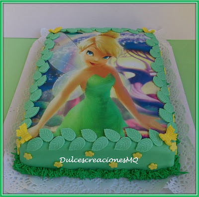 Tarta Pastel Fondant Campanilla Disney Verde Hojas Princesa Cumpleaños Aniversario Celebración Niña Alas Mariposa