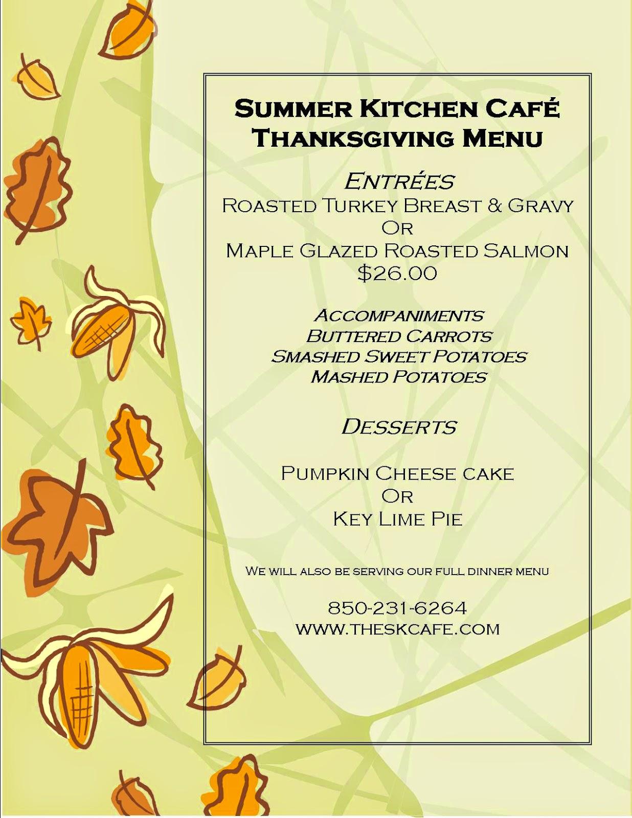sunday november 23 2014 - Summer Kitchen Menu
