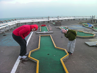 south parade pier crazy golf course in winter