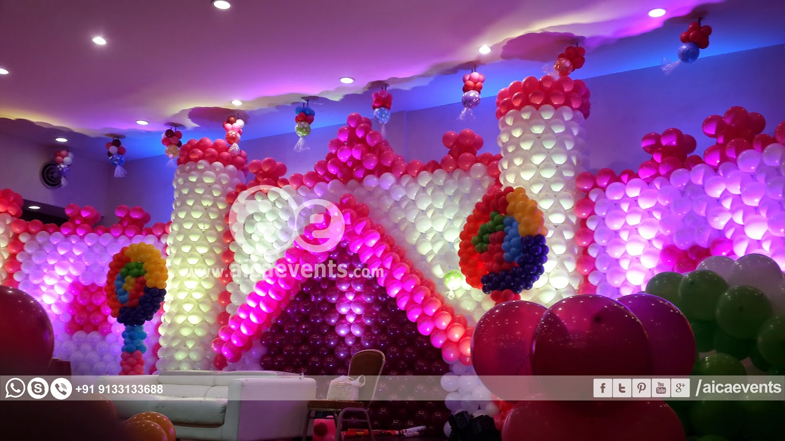 Aicaevents india castle with balloon wall decoration for Balloon decoration images for birthday party